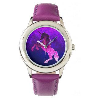 Relógio Imagem sparkly do unicórnio bonito cor-de-rosa da