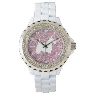 Relógio Impressão branco de Paisley do rosa do Scottie