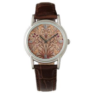 Relógio Impressão, Brown e bege do jacinto de William