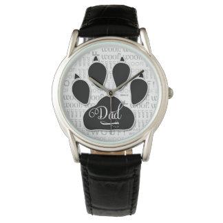 Relógio Impressão da pata do cão preto da tipografia do