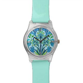Relógio Impressão do jacinto de William Morris, azul