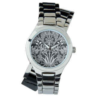Relógio Impressão do jacinto de William Morris, preto e