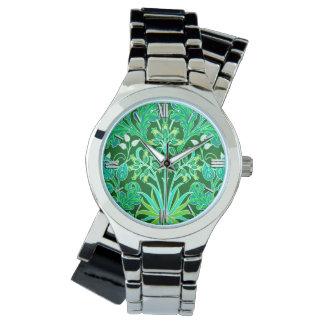 Relógio Impressão do jacinto de William Morris, verde