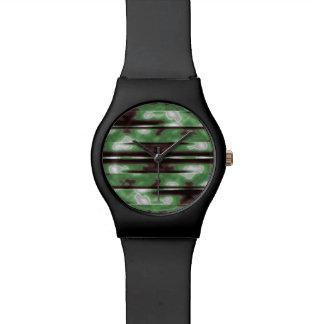 Relógio Impressão do teste padrão de Camo das listras