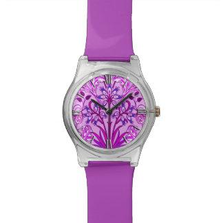 Relogio Impressão, lavanda e violeta do jacinto de William