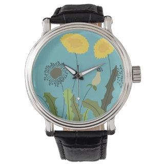 Relógio Impressão selvagem do dente-de-leão
