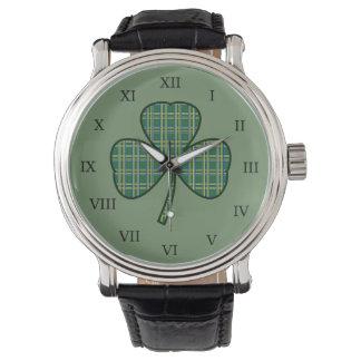 Relógio irlandês do trevo do vintage dos homens