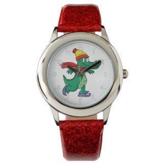 Relógio Jacaré que patina com chapéu e lenço