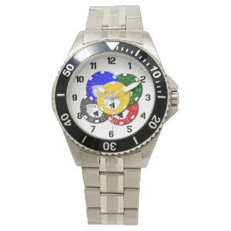 Relógio Jogador de Las Vegas das microplaquetas de póquer