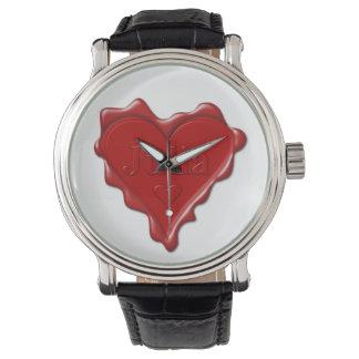 Relógio Julia. Selo vermelho da cera do coração com Julia