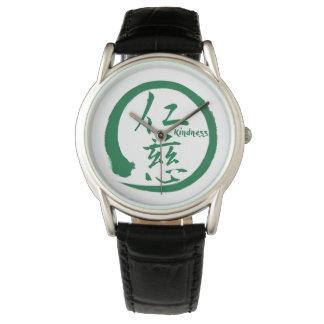 Relógio Kanji japonês verde do círculo   do enso para a
