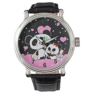 Relógio Kawaii bonito do piquenique do urso de panda