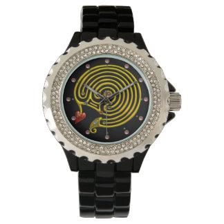Relógio LABIRINTO HYPER do OURO MEDIEVAL COM preto de