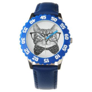 Relógio laço do gato - gato dos vidros - gato de vidro