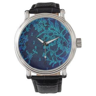 Relógio Laço gótico dos azuis marinhos do Victorian