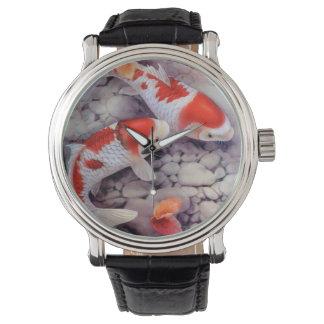 Relógio Lagoa de peixes vermelha e branca de Koi