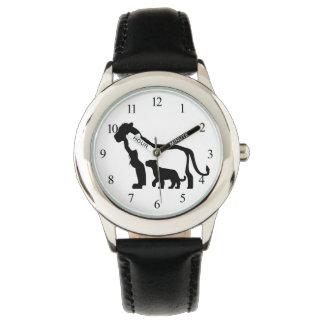 Relógio Leões preto e branco