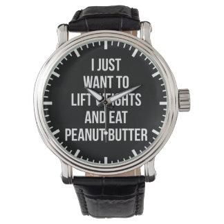 Relógio Levante pesos e coma a manteiga de amendoim -
