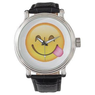 Relógio Língua para fora colada - Emoji