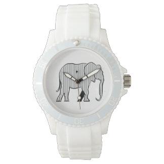 Relógio Listras simples à moda elegantes da silhueta do