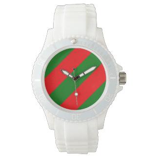 Relógio Listras vermelhas e verdes de Candycane do Natal