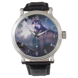 Relógio Lobo da lua - lobo cinzento - lobo selvagem - lobo