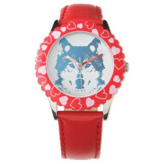 Relógio Lobo do azul de gelo da ilustração
