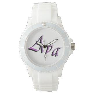 Relógio Logotipo conhecido roxo cor-de-rosa de Ava,