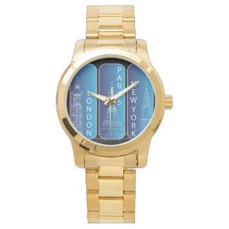 """Relógio Londres do ouro de """"senhoras New York, Paris,"""""""