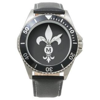 Relógio Luxo moderno simples do monograma da flor de lis