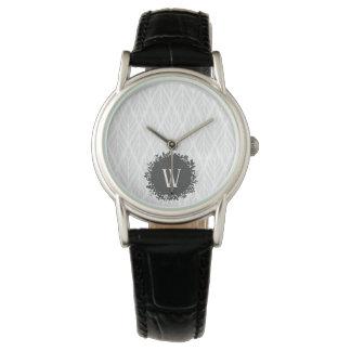 Relógio Luz - monograma frondoso do cinza e o branco do