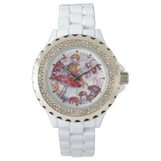 Relógio MÁGICA FOLLET da fantasia floral branca vermelha