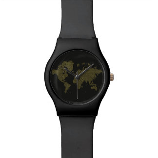 Relógio Mapa do mundo de Digitas