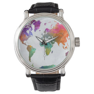 Relógio Mapa do mundo na aguarela