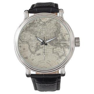 Relógio Mapa do vintage de Europa e de Ásia