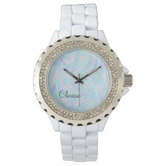 Relógio mármore branco roxo azul cor-de-rosa colorido