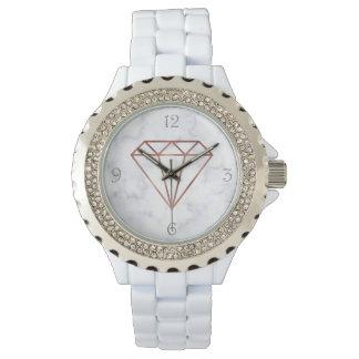 Relógio mármore cor-de-rosa do branco do diamante do ouro