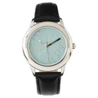 Relógio mármore, hortelã, ouro, moderno, na moda, bonito,