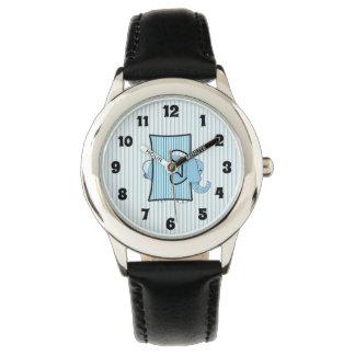 """Relógio Meninos Monogrammed de """"E"""" do elefante azul"""