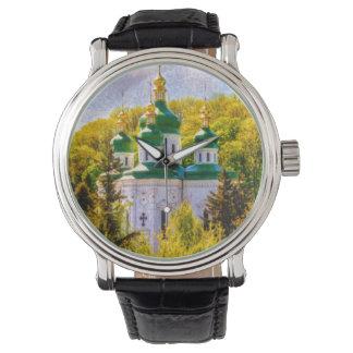 Relógio Monastério de Vydubitsky. Kiev, Ucrânia