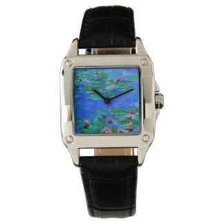 Relógio Monet - lírios de água (vermelhos)