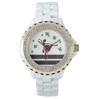 Relógio Monograma afortunado da folha da bailarina