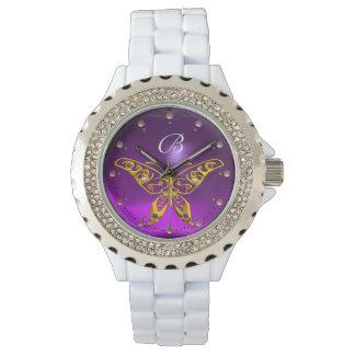 Relógio Monograma Amethyst roxo da BORBOLETA HYPER do OURO