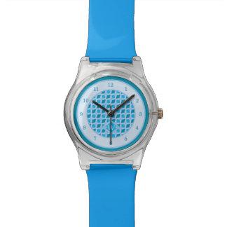 Relógio Monograma azul do costume do teste padrão do