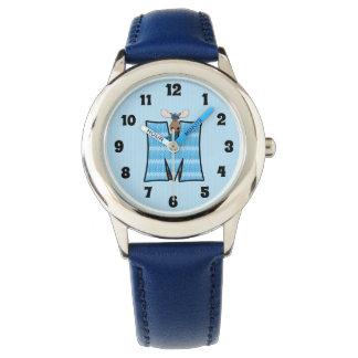 """Relógio Monograma azul dos meninos da letra """"M"""" dos alces"""