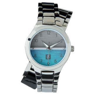 Relógio Monograma azul e cinzento do tom dois simples das