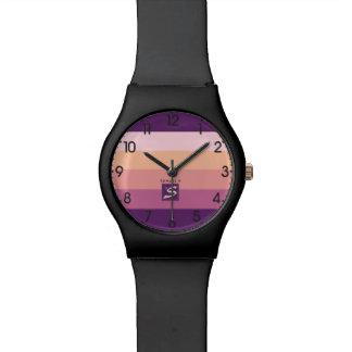 Relógio Monograma da listra da paleta de cores do por do