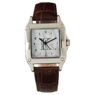 Relógio Monograma de mármore branco da textura