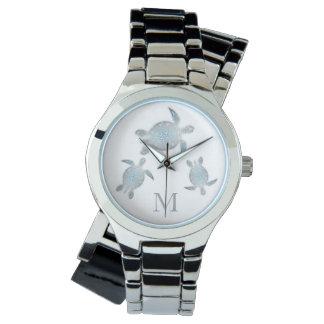Relógio Monograma de prata das tartarugas