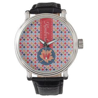Relógio Monograma geométrico do teste padrão da queda